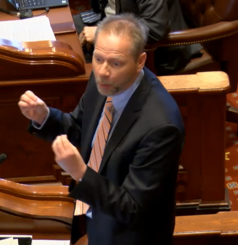 Sen. Dale A. Righter (R-Matton) diligently debates over HB1465 on the Senate Floor March 14.