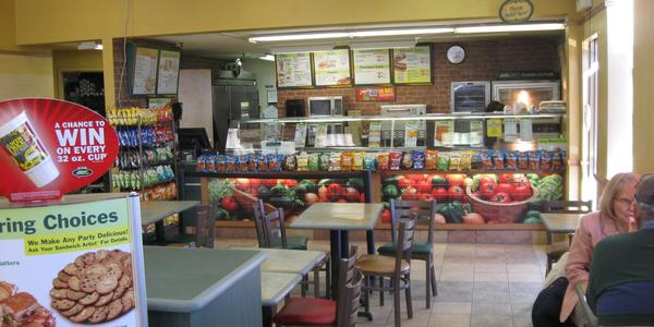 Large subway restaurant interior
