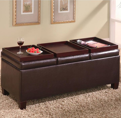 This unassuming Coaster ottoman actually opens up to provide deep storage space.