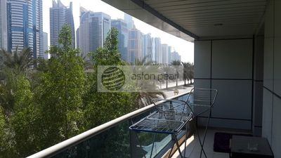 The balcony of an available one bedroom apartment in the Marina Diamond 1 building.