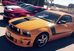 With room to display more than 600 vehicles, the Cars and Coffee show has plenty of room for group displays like this Mustang club.