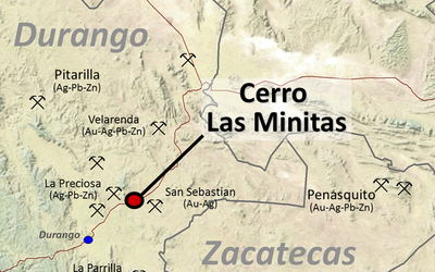A map of the Cerro Las Minitas mine and surrounding area.