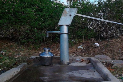 Medium 900px a groundwater pump in the village
