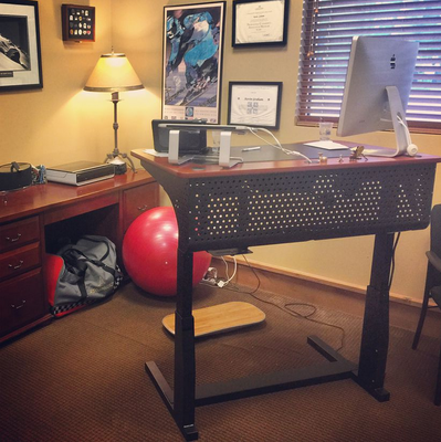 Standing desks are fast becoming a popular choice in office furniture.