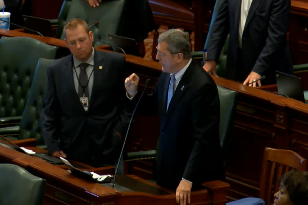 Rep. David Harris (R-Arlington Heights), right, condemned racism on the House floor on Wednesday.