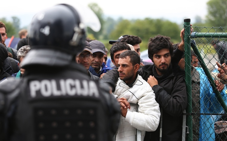 A group of Syrian refugees is blocked at the Slovenia-Croatia border.