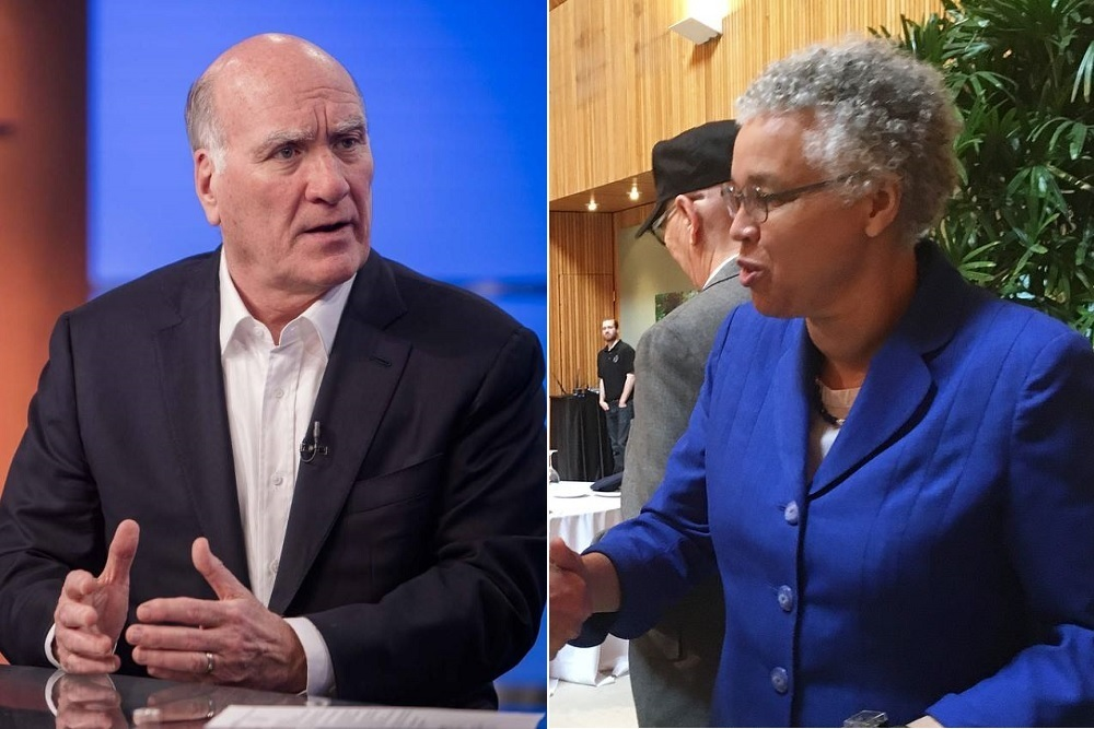 William Daley, left, and Toni Preckwinkle, two of 14 candidates running for Mayor in Tuesday's Chicago city elections