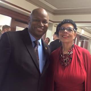 State Rep. Chris Welch (D-Maywood) with Karen Lewis, president of the Chicago Teachers Union.