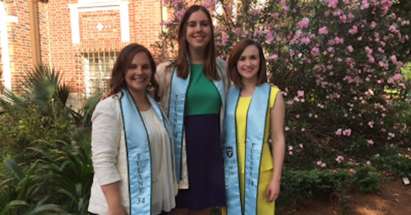 From left, Tulane Law School Class of 2016 members Lori Dowell, Laura Cannon and Claire Galley each received Tulane 34 Award.