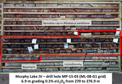 Sample taken from the discovery of uranium ore at Murphy Lake in Saskatchewan.