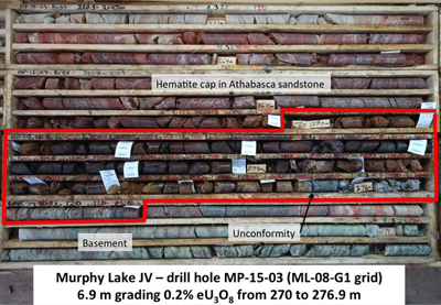 Sample taken from the discovery of uranium ore at Murphy Lake in Saskatchewan.