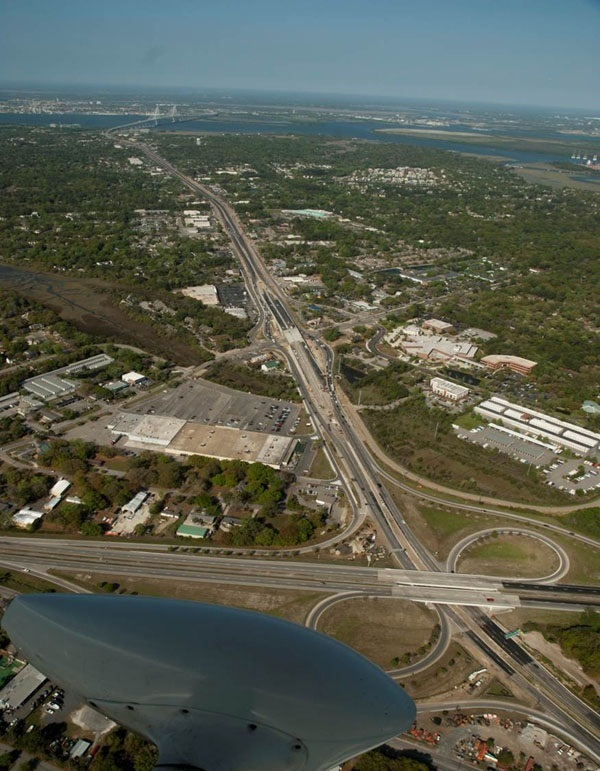 An aerial view of the completed Johnnie Dodds Boulevard project in Mount Pleasant, SC.