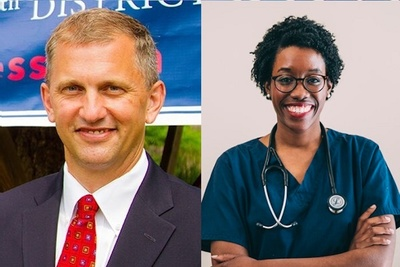 U.S. Rep. Sean Casten, right, and U.S. Rep. Lauren Underwood, left.