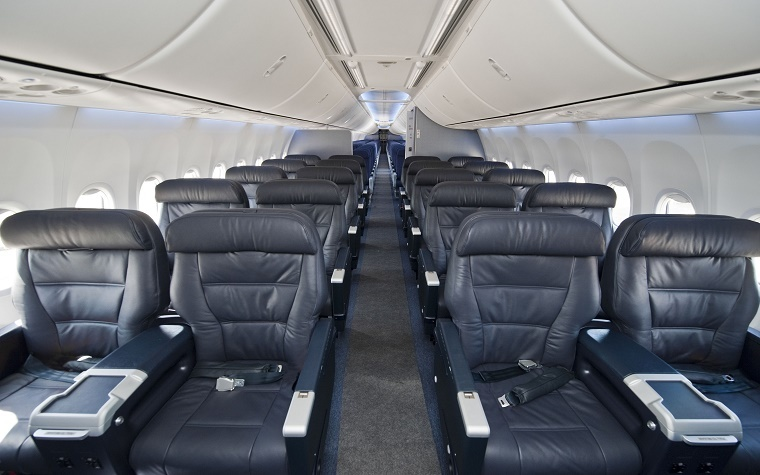 The interior of a Boeing 737-900ER.
