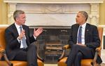 NATO Secretary General Jens Stoltenberg (left) at a recent White House meeting with President Obama.