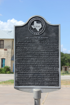 This marker honors Dr. Joseph Pound, one of the original settlers in Dripping Springs.