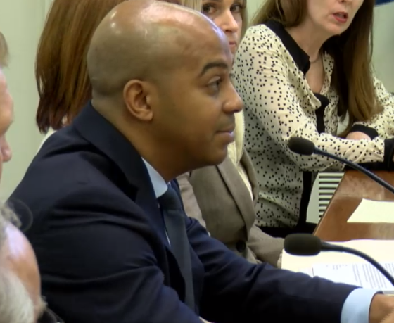 regg Duerson, son of  Dave Duerson, 1985 Chicago Bear who committed suicide at the age of 50 to donate his brain to the Boston University School of Medicine, testifies before House Mental Health Committee March 1