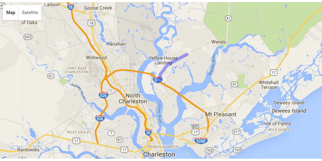 A Google Maps overview from the South Carolina Department of Transportation highlights the portion of Clements Ferry Road in Berkeley County that will be widened as part of a project set to begin in fall 2016.