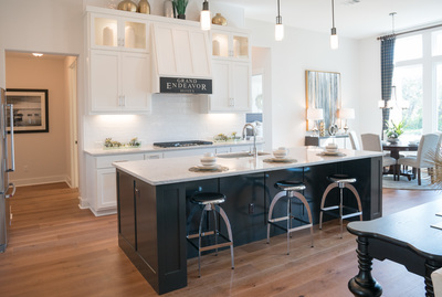 This fabulous kitchen is featured at the model home built by Grand Endeavor Homes in Woodland Hills. Tours of the model home — designed by  Mary DeWalt — are available for potential buyers.