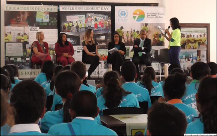 Students from schools in Dubai take part in the Consume with Care event.