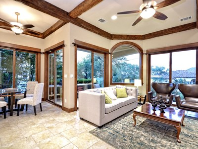 The 4,980-square-foot home includes this gorgeous family room with breathtaking views.