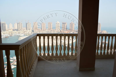 The sea view from the large balcony in the available apartment at The Pearl