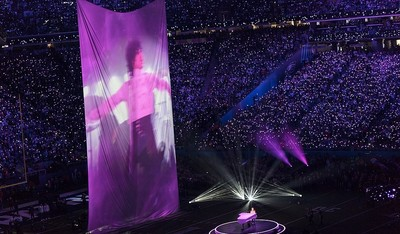 A projection of superstar Prince during Super Bowl LII Halftime Show