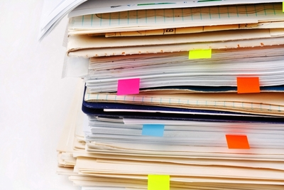 Medium shutterstock document pages piles postits