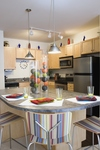 Accent colors in a kitchen can make a bold statement.