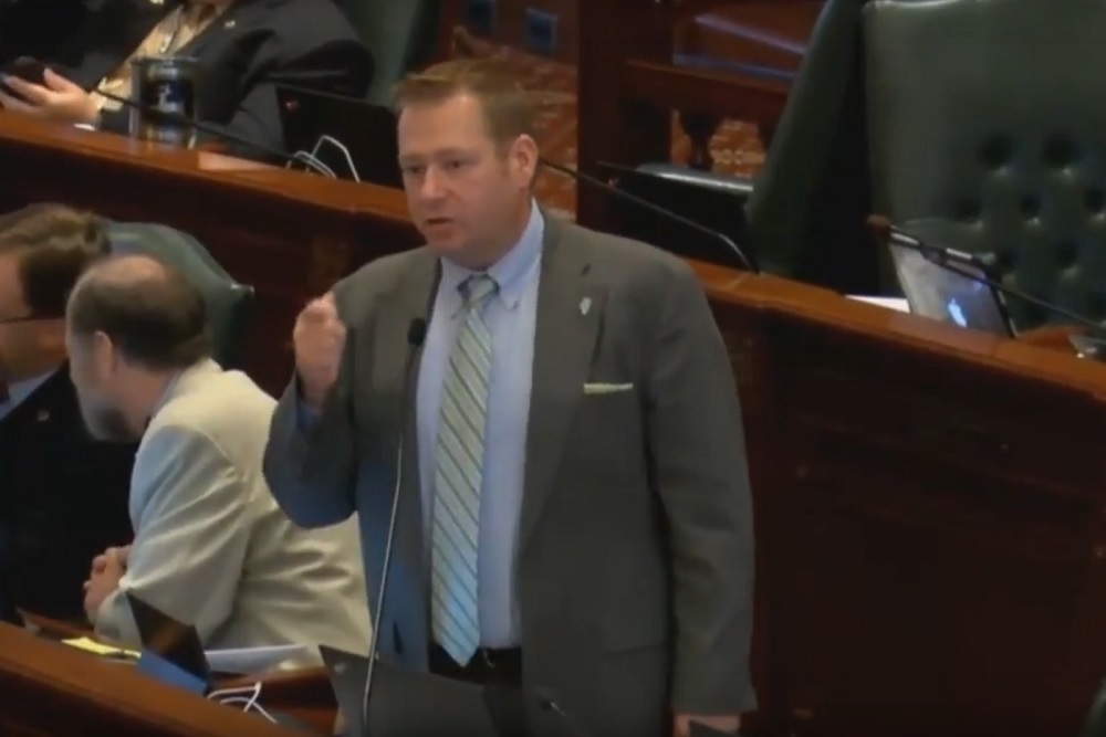 Illinois state House Rep. Allen Skillicorn (R-Crystal Lake) speaking on the State House floor