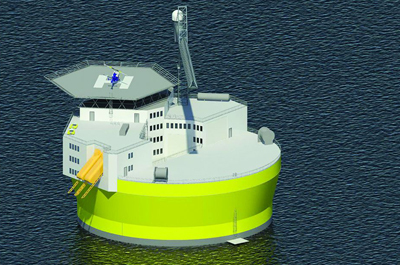 A rendering of a proposed floating nuclear reactor design indicates its similarity to offshore oil drilling facilities.
