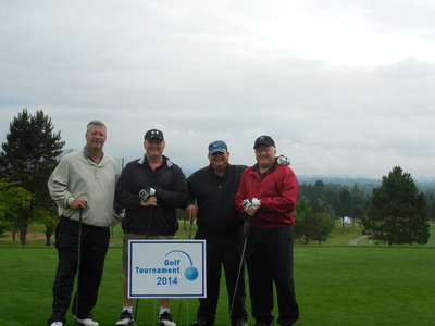 General Distributors sponsored the Gresham Chamber of Commerce golf tournament on June 16. Left to right are Les Kellum, On-Premise District Manager, Gary Ford, On-Premise Sales Manager, Steve Mysinger, General Distributors General Manager and Don Lewis,