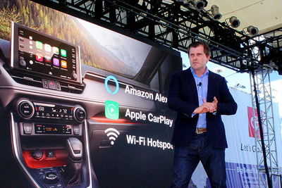 Marcus Umlauff of Toyota runs through the tech features and apps being installed on 2019 models during media presentations at the Texas Auto Show.