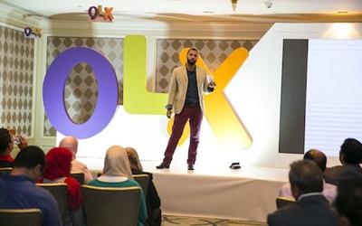 Dubizzle's Senior PR and Communication Manager Abdallah Touqan announces the company's rebranding as OLX.