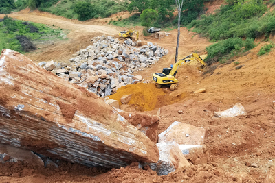 Raw granite from this quarry in Brazil awaits processing on its way to Austin area kitchens.