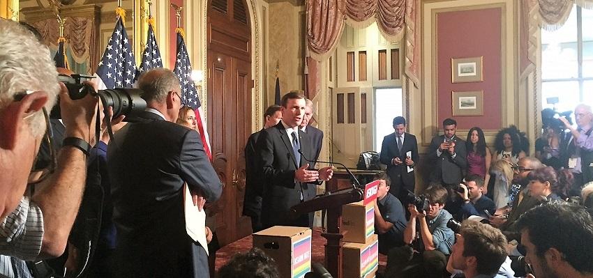 U.S. Sen. Chris Murphy, D-CT, explains his filibuster to the press