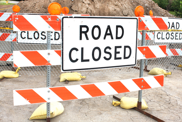 Road closure in Hamilton