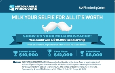 $30,000 in scholarship funds up for grabs in Arizona milk mustache photo contest