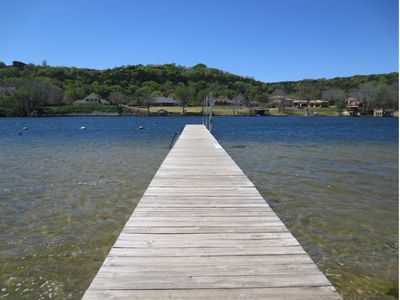 The wading dock at Emma Long Municipal Park, which allows wading, swimming and fishing access to Lake Austin.