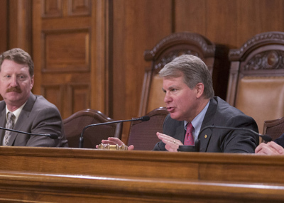 Senator Argall (R-Schuylkill/Berks) chairs a Senate Majority Policy Committee public hearing on Wednesday. Senator Elder Vogel, left, is prime sponsor of Senate Bill 724.