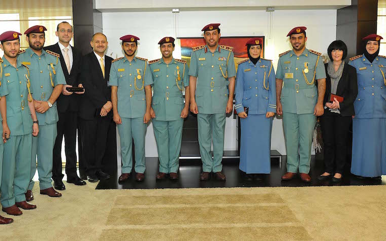 Members of the  Human Resources Directorate General were recently honored by the Abu Dhabi Police with Employment Excellence Medals.