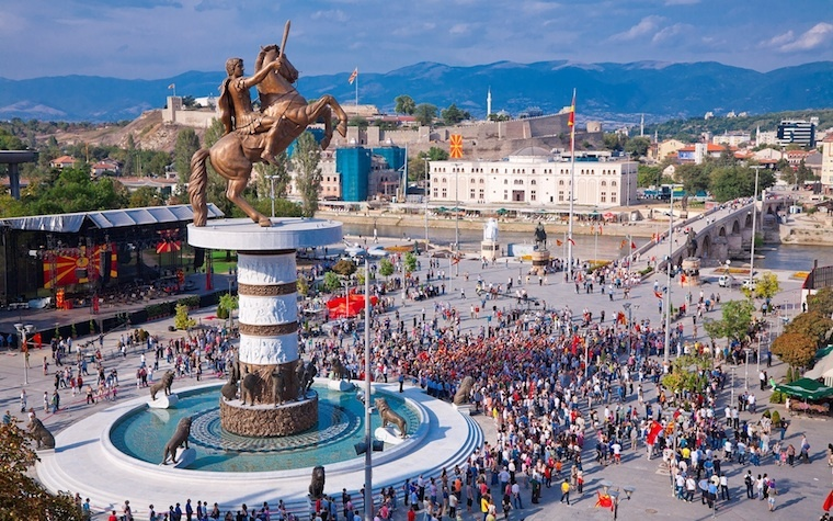 A massive statue of Alexander the Great in the center of Macedonia's capital of Skopje.