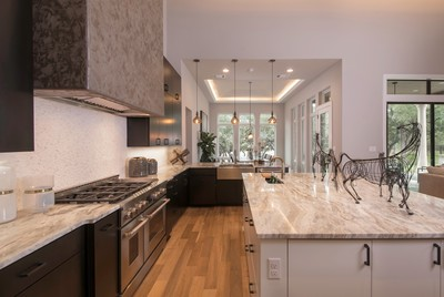 Exquisite and accessible define the luxurious, open kitchen.