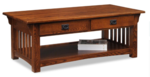 Mission Coffee Table with Drawers and Shelf in Oak: $319.95