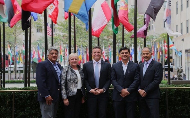 (left to right): Belize Natural Energy CEO Gilbert Canton; Chairman Susan Morrice; Board Member Josh Stewart; Engineer Gilbert Canton and MEBAA Founding Chairman Ali Al Naqbi.