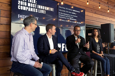 "Ford Motor Company VP of Research & Advanced Engineering Ken Washington (second from right) fields a question during the Fast Company ""Most Innovative Companies"" panel on March 13 during SXSW."