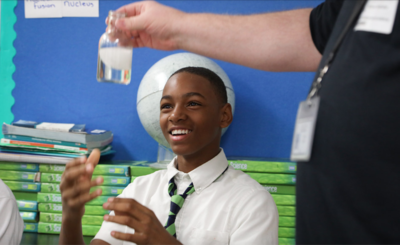 Tyler Hill, a Detroit Enterprise Academy seventh-grader, is among 4,500 students throughout southeastern Michigan who will benefit from a new STEM education program made possible by a grant from the FCA Foundation to the Cranbrook Institute of Science.