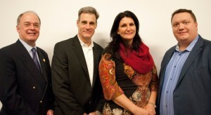From left are Chad Paul, president and CEO of Ben Franklin Technology Partners, with Ben Franklin Venture Idol Award finalists Bob Brown, CEO of TSG Software; Nadia Dailey, president and CEO of JUJAMA; and James Abrams, CEO of EthosGen..