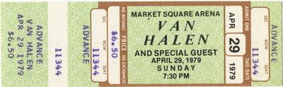A ticket to Van Halen's April 29, 1979, concert in Indianapolis.