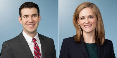 Ryan J. Funk, left, an associate in Faegre Baker Daniels' Indianapolis office, and Lindsey M. Hogan, an associate in the firm's Chicago office.
